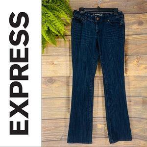 Express Dark Wash Flare Bottom Jeans